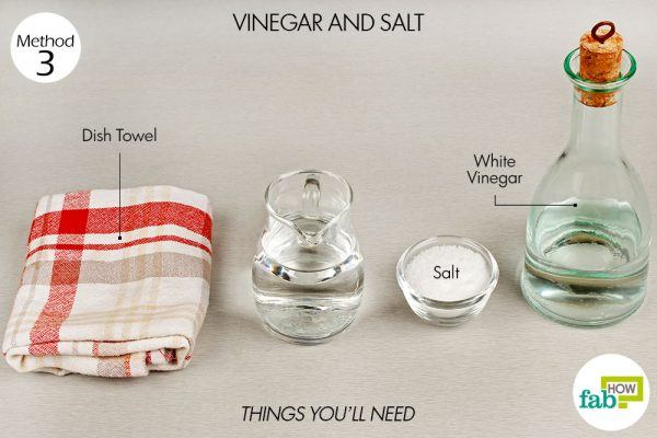 use vinegar and salt to remove coffee and tea stains things need