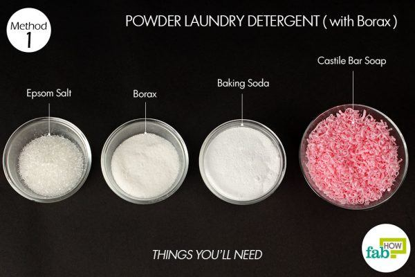 things you'll need for using borax to make powder laundry detergent