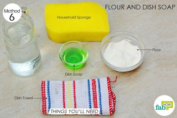 things you'll need for using flour and dish soap to clean marble