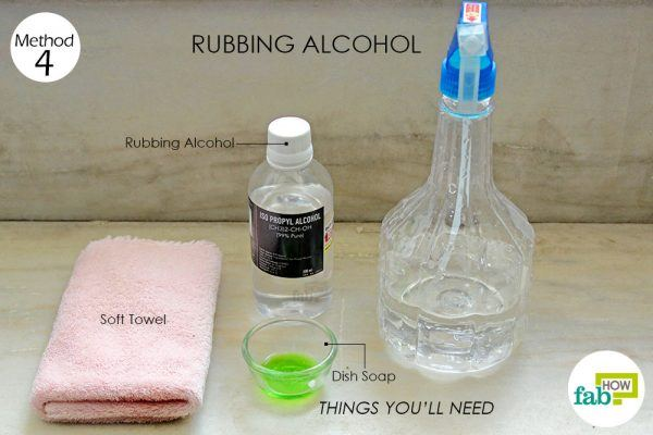 things you'll need for using rubbing alcohol to clean marble