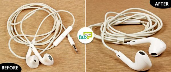 before and after cleaning earbuds with rubbing alcohol