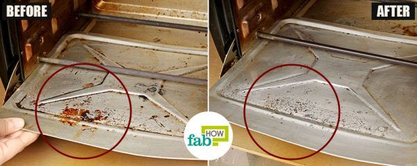 before after how to clean your oven toaster griller baking soda method