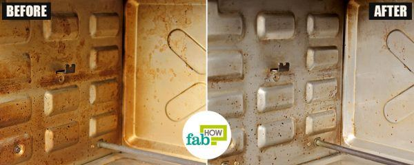 before after how to clean your oven toaster griller vinegar method