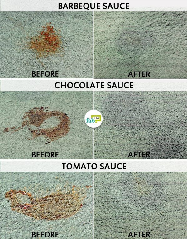 before and after using ammonia to remove sauce stain from carpet