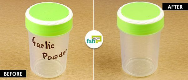 before and after using hand sanitizer to remove permanent marker from plastic