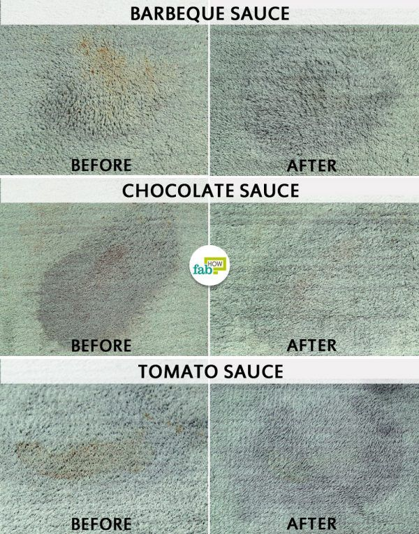 before and after using hydrogen peroxide to remove sauce stain from carpet