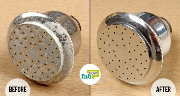 before and after using vinegar to remove hard water stains