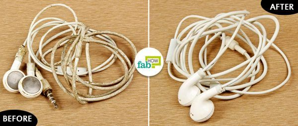 before and after cleaning earbuds with rubbing alcohol and dish soap