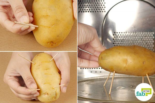 prop up the potato with toothpicks before baking