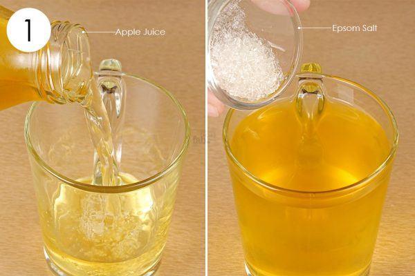 mix apple juice and epsom salt