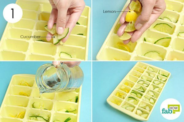 freeze cucumber and lemon in water