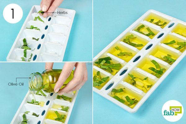 put chopped herbs and oil into the tray