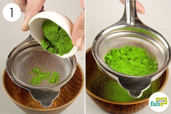 sift matcha green tea powder
