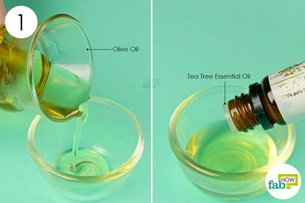 blend tea tree oil and oilve oil together