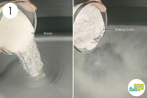 mix borax and baking soda in lukewarm water