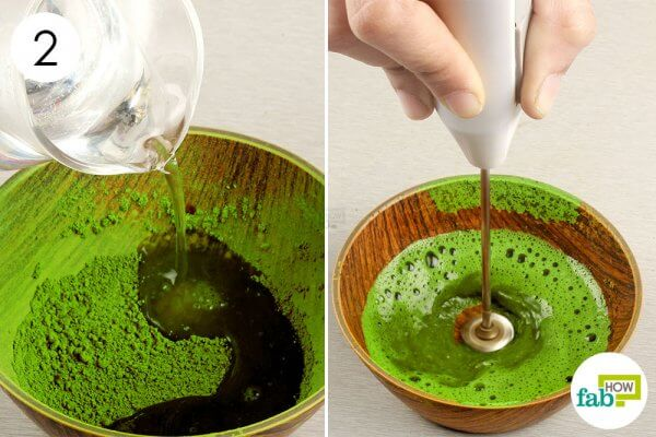 add water to matcha green tea and whisk