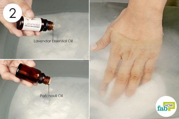 add essential oils to the tub