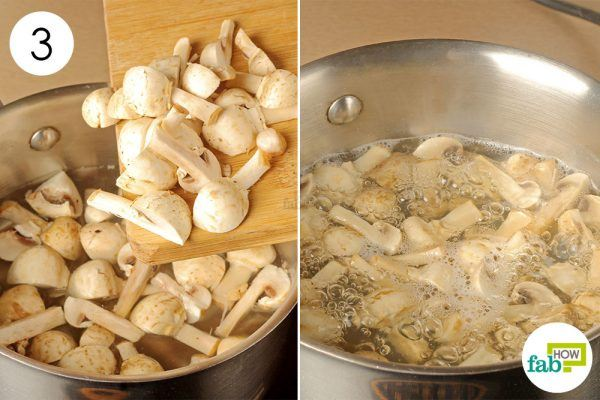 drop mushrooms in boiling water