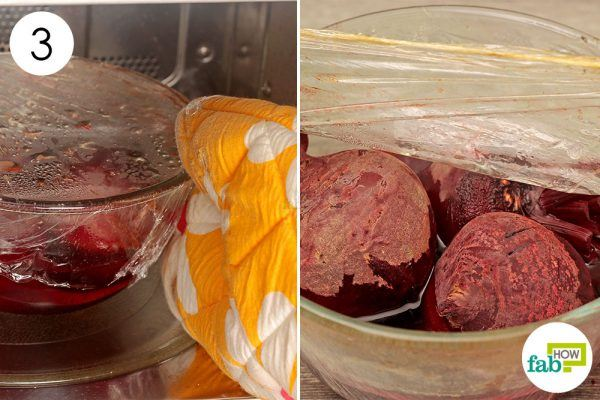 remove plastic wrap and let the beets cool off