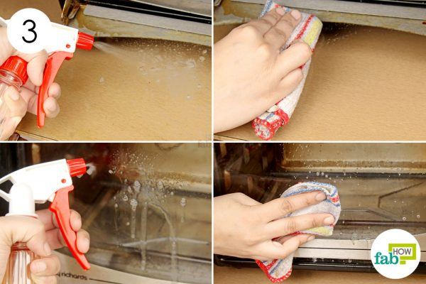 remove any windex traces from the door with a soap solution