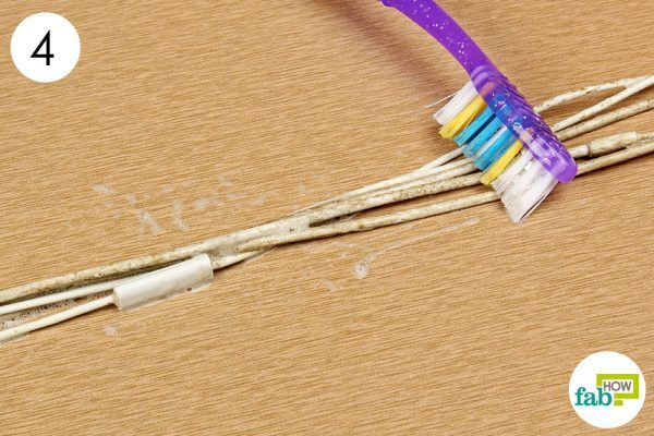clean the wires with dish soap solution and toothbrush