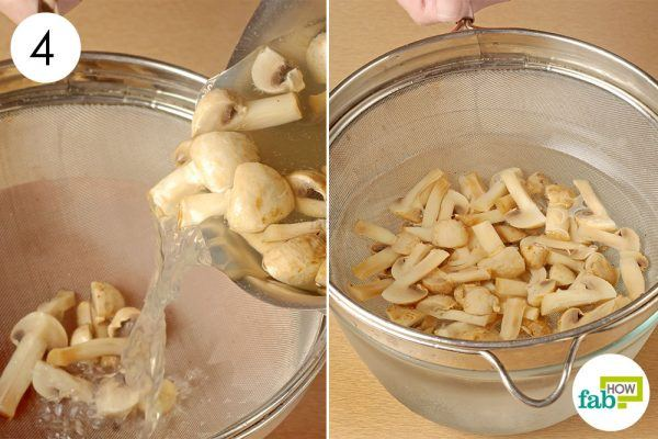 strain the mushroom and put them in iced water