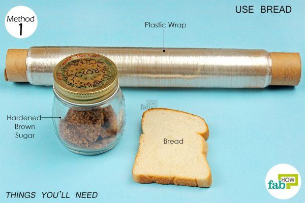 things you'll need to soften brown sugar using bread