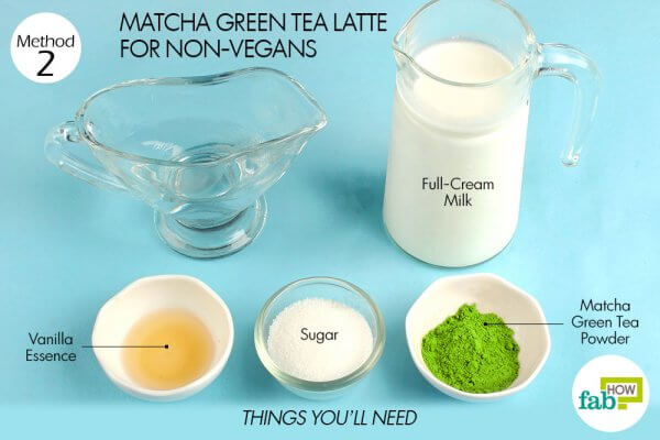 things you will need to make matcha green tea latte for nonvegans