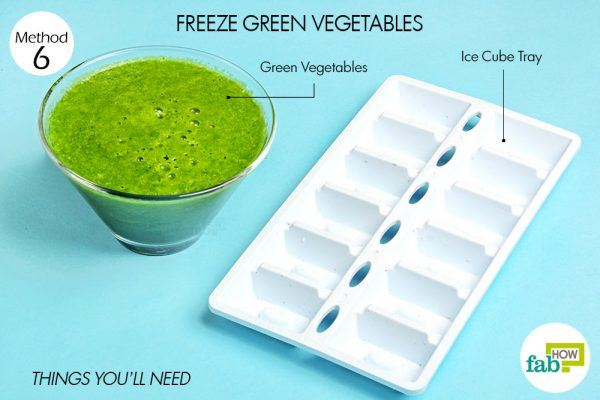 things you'll need for green vegetables in ice cube tray hacks