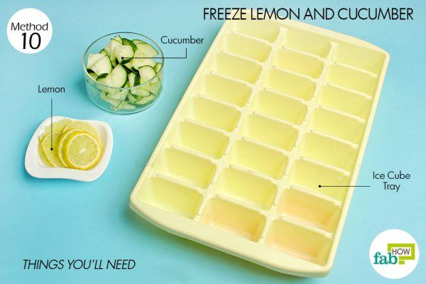 things you'll need for lemon-cucumber in ice cube tray hacks