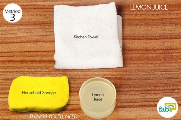 things you'll need for using lemon juice to remove sauce stain from carpet