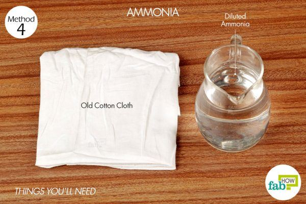 things you'll need for using diluted ammonia to remove sauce stain from carpet