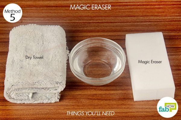 things you'll need for using magic eraser to remove hard water stains