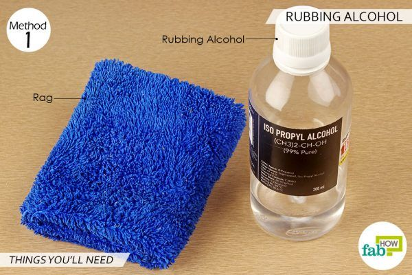 things you'll need for using rubbing alcohol to remove permanent marker from plastic
