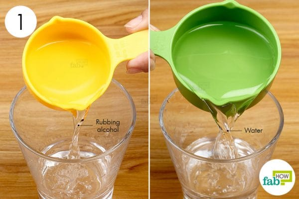 combine rubbing alcohol with water