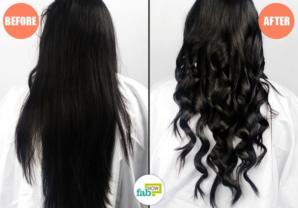 before after using curling wand