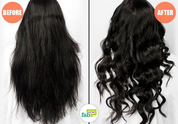 before and after using curling iron