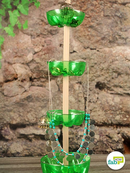 jwellery stand made with plastic bottle