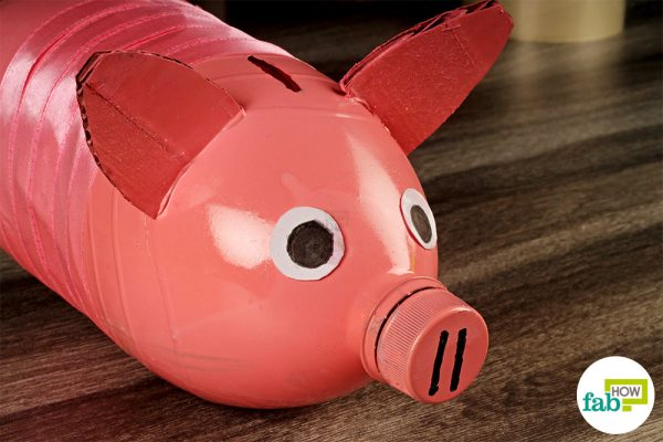piggy bank made with plastic bottle