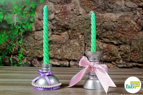 tapered candlestick made with plastic bottle