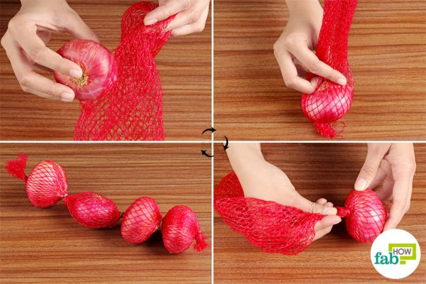 place the onions in the mesh bag