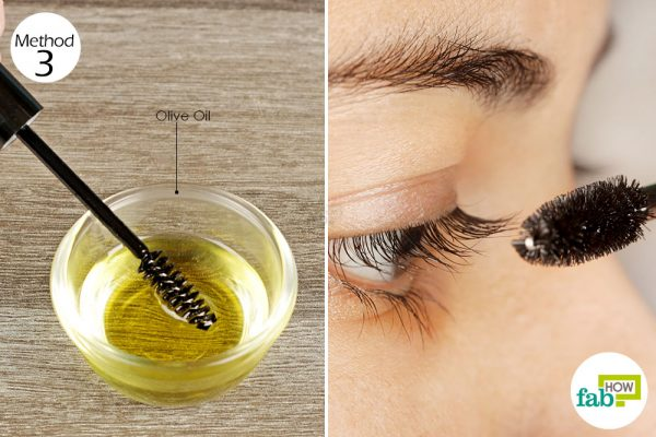apply olive oil on your eyelashes
