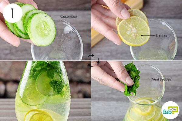 add cucumber mint and lemon to water