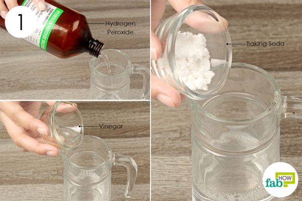 combine hydrogen peroxide baking soda and vinegar