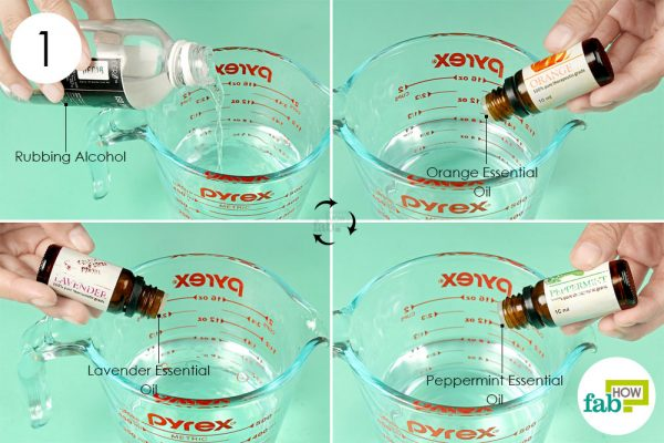 combine water rubbing alcohol and essential oils