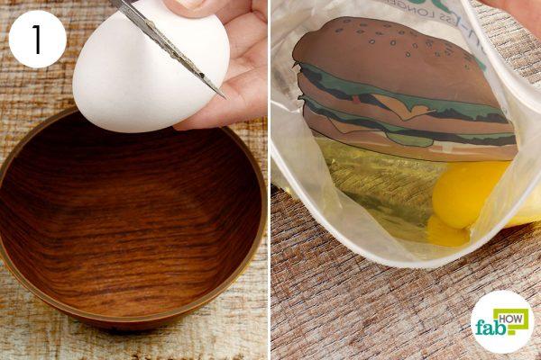 break open 2 eggs in a ziploc bag