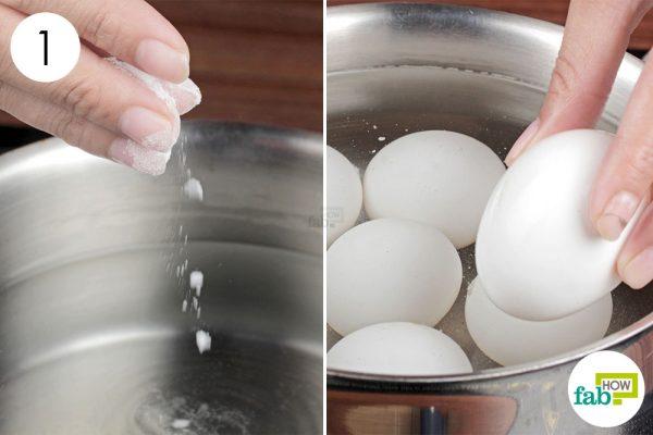 hard boil the egg in alkaline water