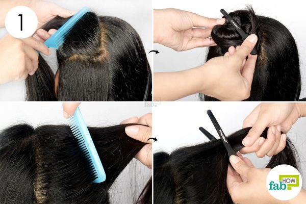 partition hair in multiple sections