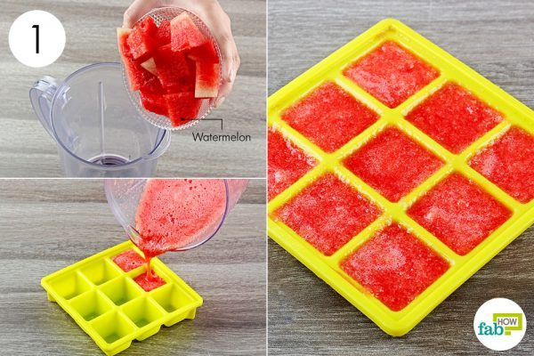 puree the watermelon and freeze in ice tray