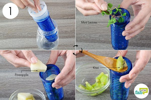 put sliced fruits in infuser bottle